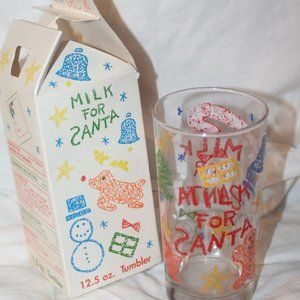 Vintage Milk 4 Santa Glass Tumbler Anchor Hocking
